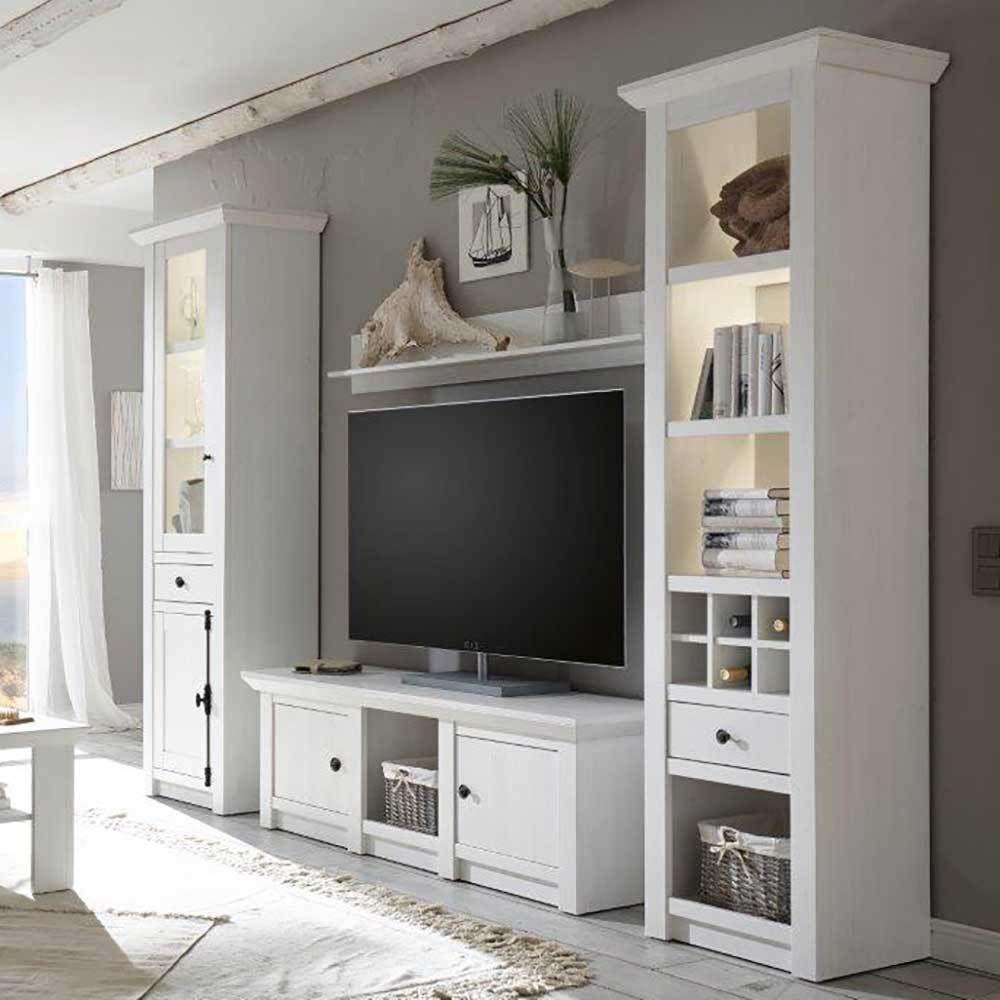 Wohnzimmer Schrankwand Im Landhausstil Weiß Pinie (4 Teilig) Jetzt  Bestellen Unter: Https