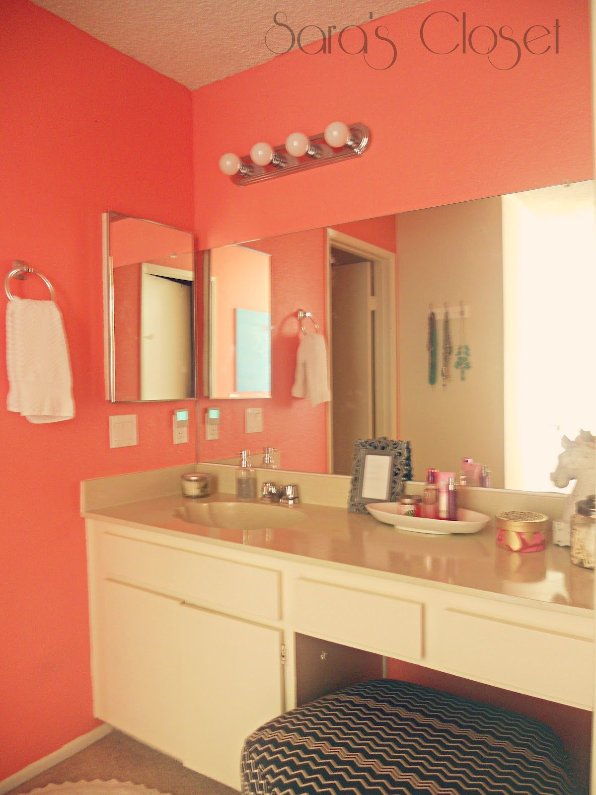 lovely coral colored bathroom | {Behr- Youthful Coral} Love this for the girls! Thinking ...