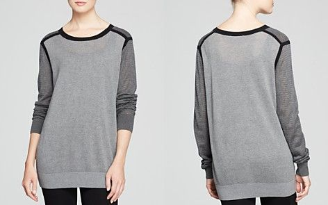 DKNY Color Block Textured Knit Pullover