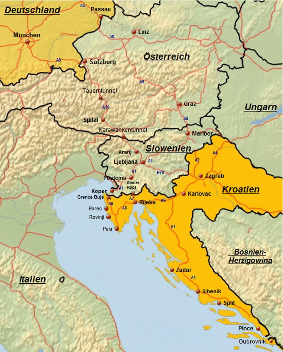 istrien slowenien karte Reiserouten nach Kroatien | Routenplaner Kroatien mit Karten