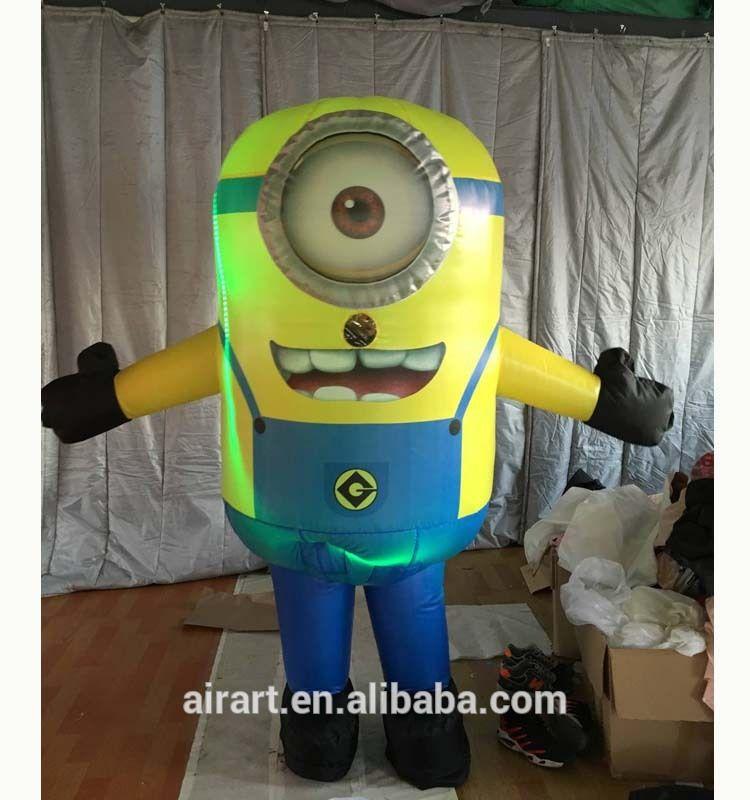 Led lighting adult inflatable cartoon character minions costume