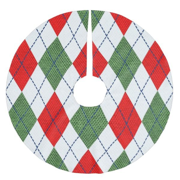 Red and Green Argyle Print Christmas Tree Skirt Tree skirts and