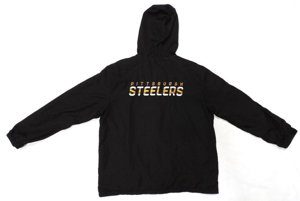 detailed look 9b401 af659 Pittsburgh Steelers Jacket Reebok XL Coat Black NFL Football ...