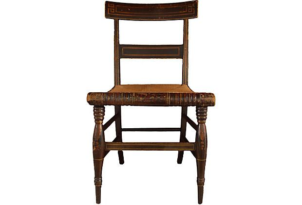 Greek Key Chair Attr. To Hitchcock   Mid 19th Century Maple Hitchcock