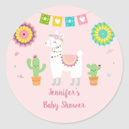 Llama Fiesta Cactus Baby Shower Classic Round Sticker