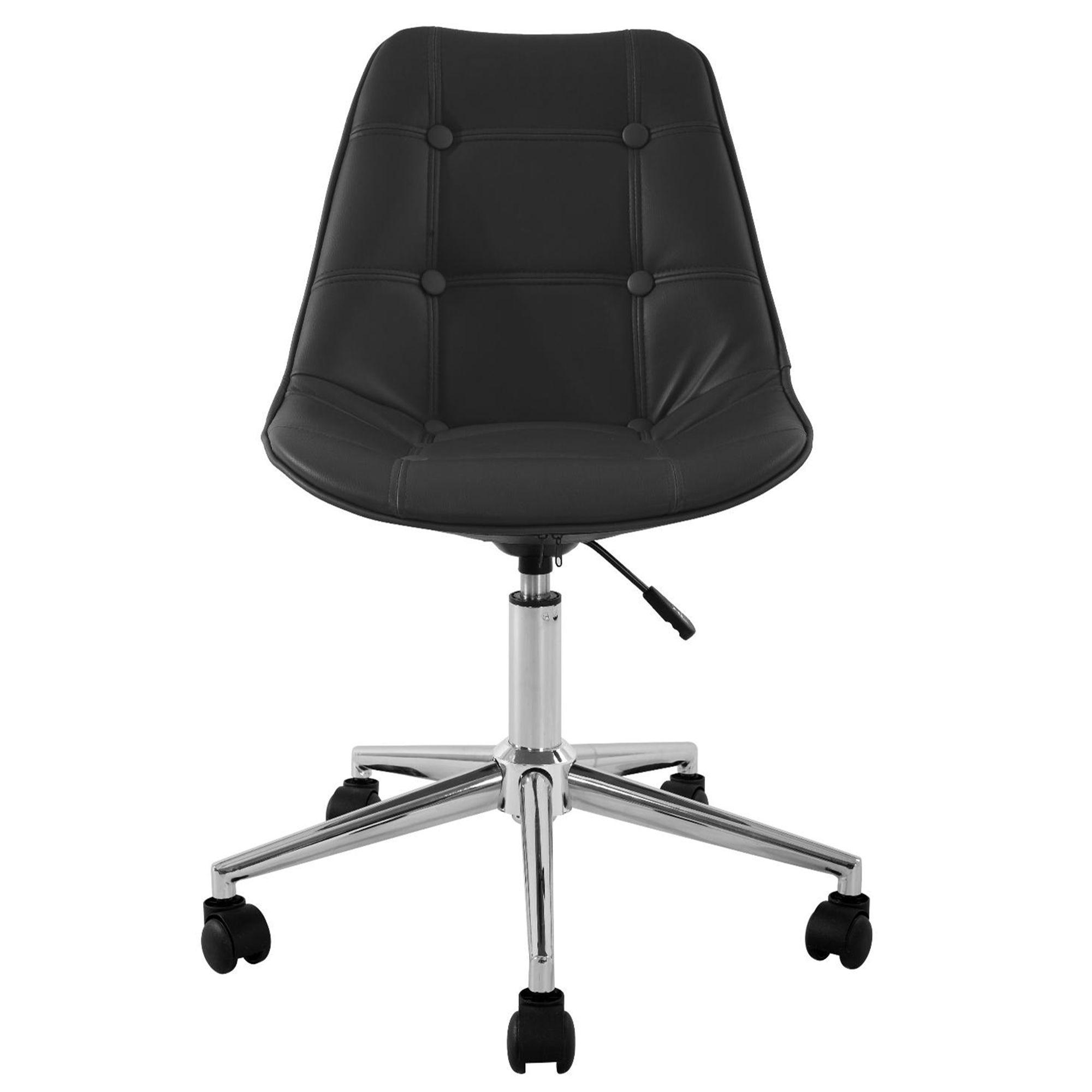 alinea fauteuil de bureau dactylo roulettes noir noir. Black Bedroom Furniture Sets. Home Design Ideas