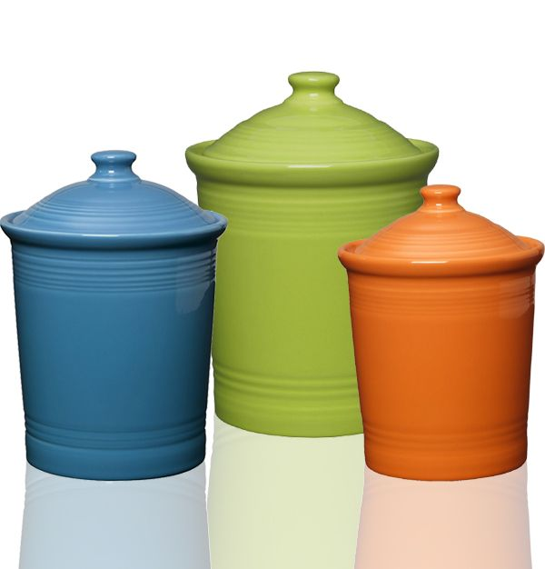 Attractive Fiesta Bright Colored Canisters In Peacock, Lemongrass, Tangerine