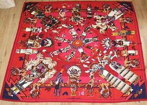 """Kachina"" - Hermes Scarf designed by Kermit Oliver. I learned about Kermit Oliver on NPR today. This artist is a postal worker from Waco, and he's the only American to design scarves for Hermes."
