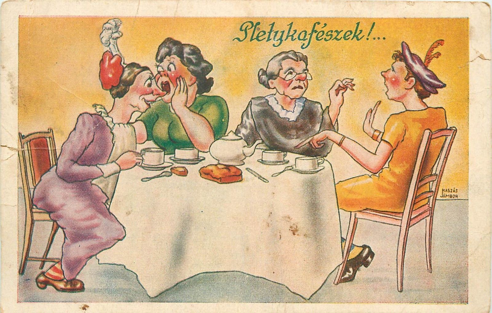 Artist signed Kaszas Jambor wifes mothers in law caricatures coffee gossips