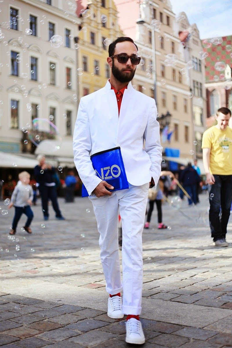 Men's White Blazer, Red Dress Shirt, White Dress Pants, White Low ...