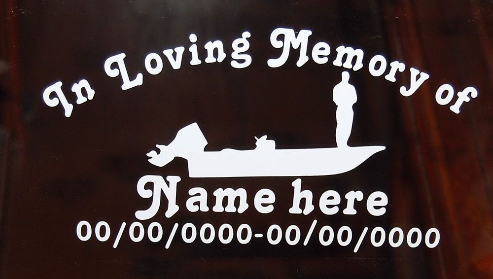 Custom In Loving Memory Of Boat Fishing Vinyl Decal Window - Custom vinyl stickers ebay