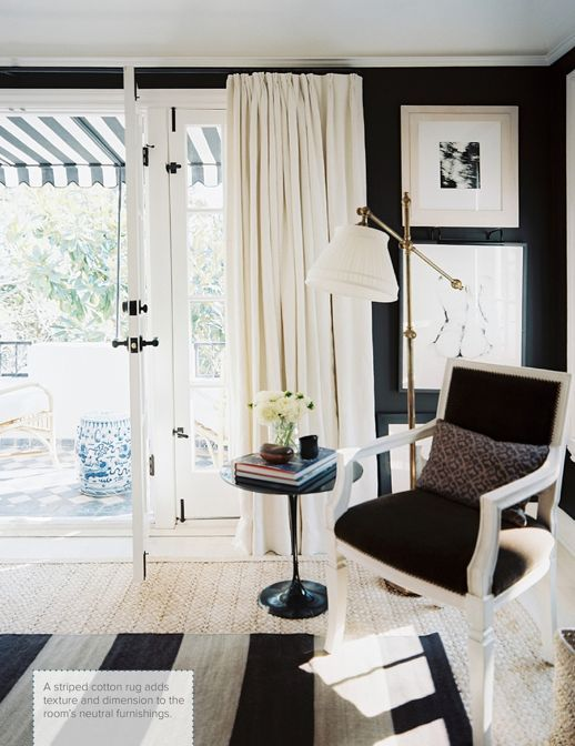 Black walls in the home of Mark D. Sikes