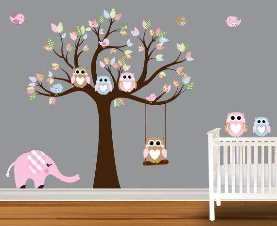 Tree Decal Nursery Wall Stickers Colorful Owl Elephant Via Etsy