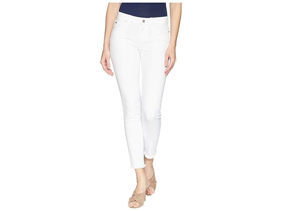 TWO by Vince Camuto FivePocket Frayed Hem Ankle Jeans in Ultra White Ultra White Womens Jeans Comfortable and flattering Midrise jean boasts a skinny leg that hits at an...