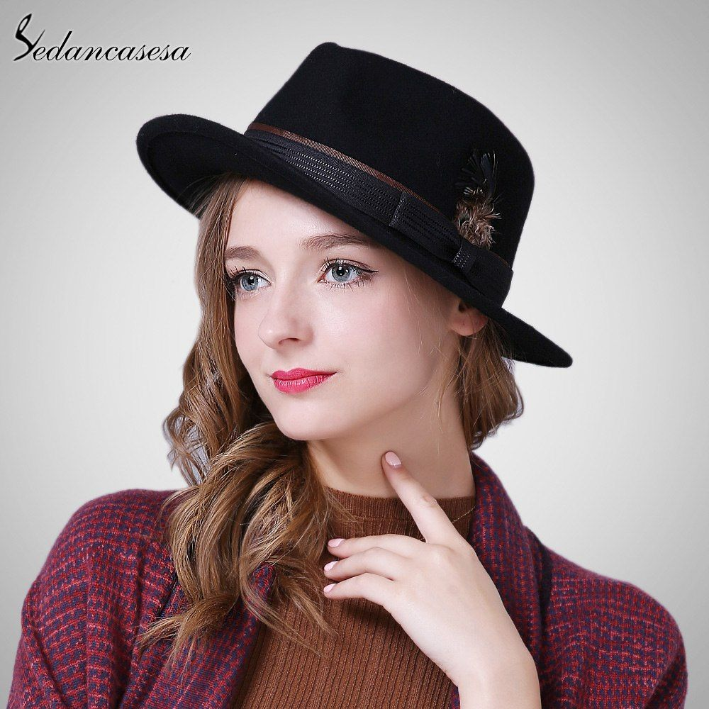 afbbcc5c4 Winter Vintage Wide Brim Bow Feather Fedoras Hats for Women Bowler ...