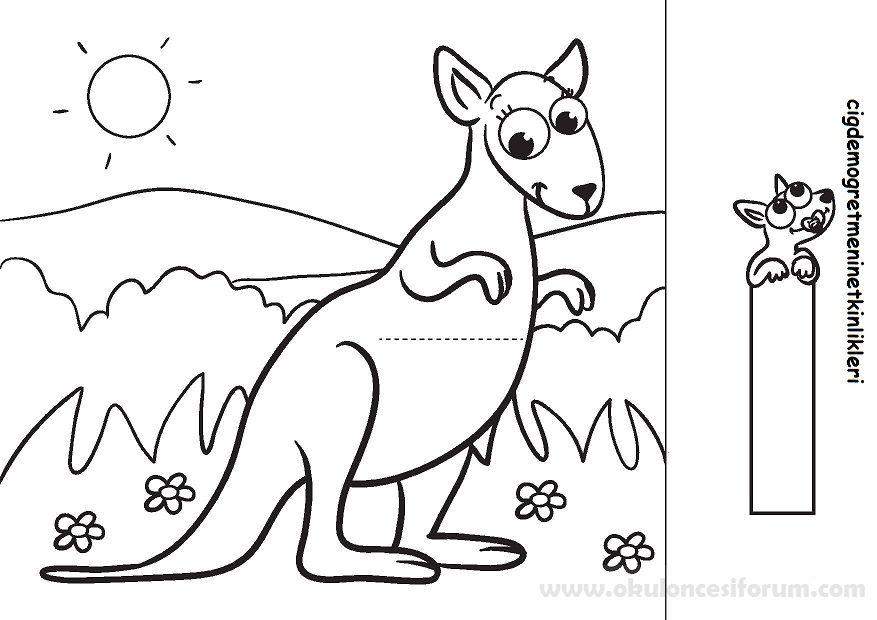 Bebek Kanguru Annesinin Cebinde Boyama Sayfalari Okul Oncesi Ve