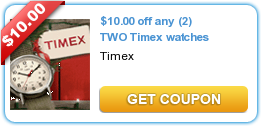 $10.00 off any (2) TWO Timex watches