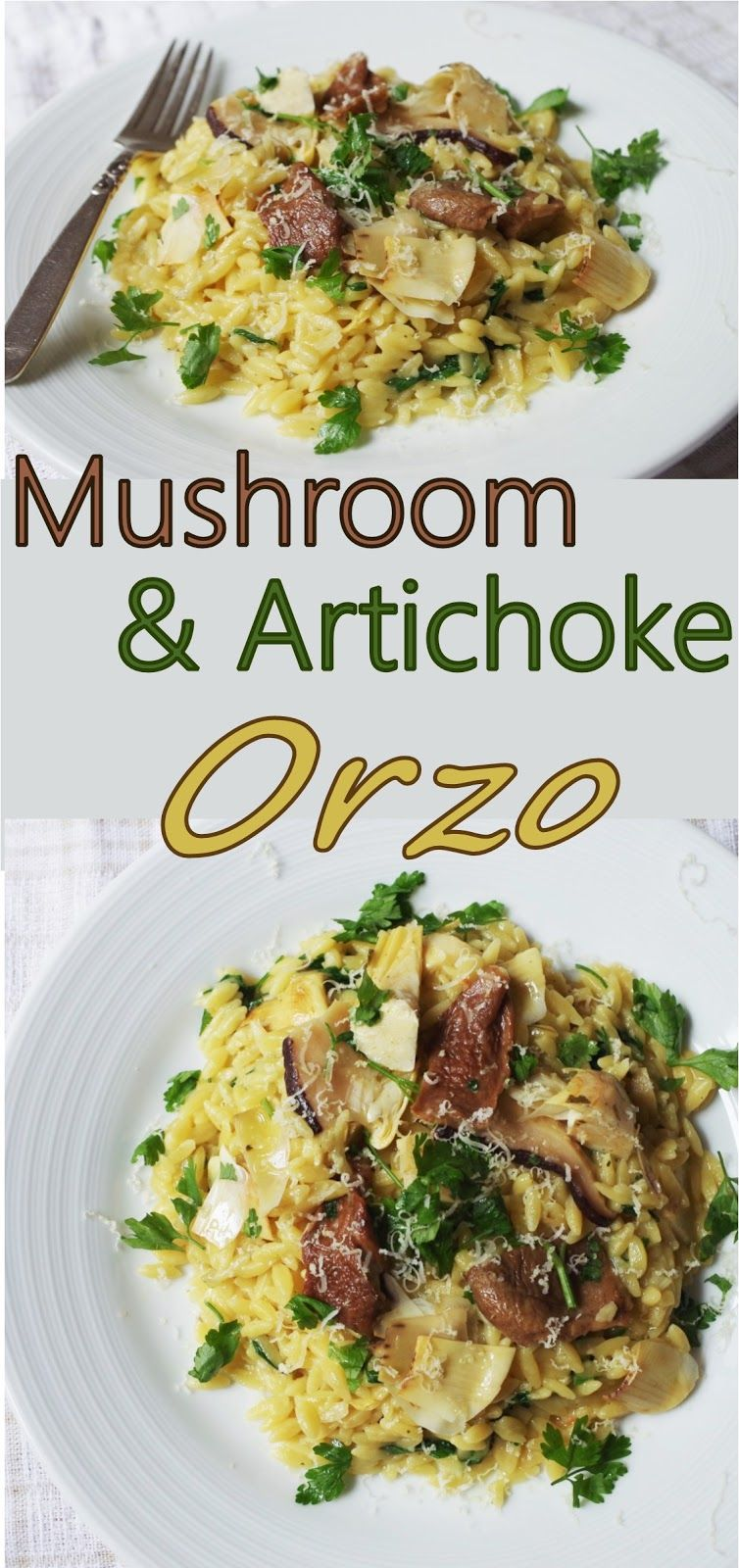 Dried mushroom and artichoke orzo with vegan parmesan and parsley