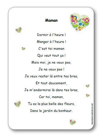 Comptine Maman Bricolage Poème Fête Des Mères Activité
