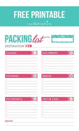 Free-printable-packing-list manero Pinterest Costa rica and - packing checklist template