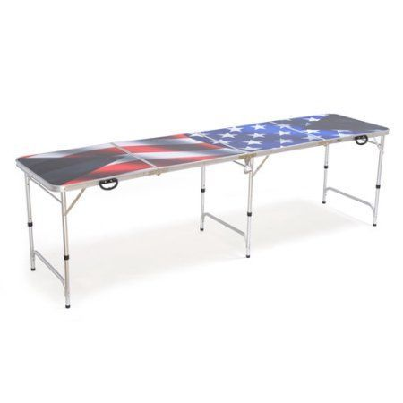 American Flag Beer Pong Table 8ft - Premium HD Design - Bottle Opener, Ball Rack, & 6 Pong Balls! By Red Cup Pong