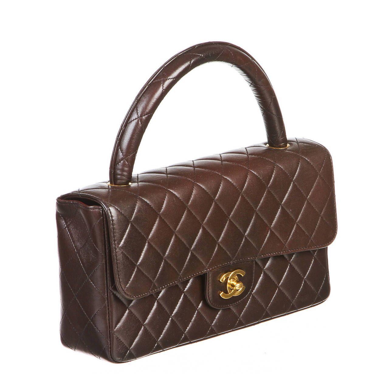 7c4e6effb53c9c Chanel Brown Lambskin Top Handle Handbag | See more vintage Top Handle Bags  at https: