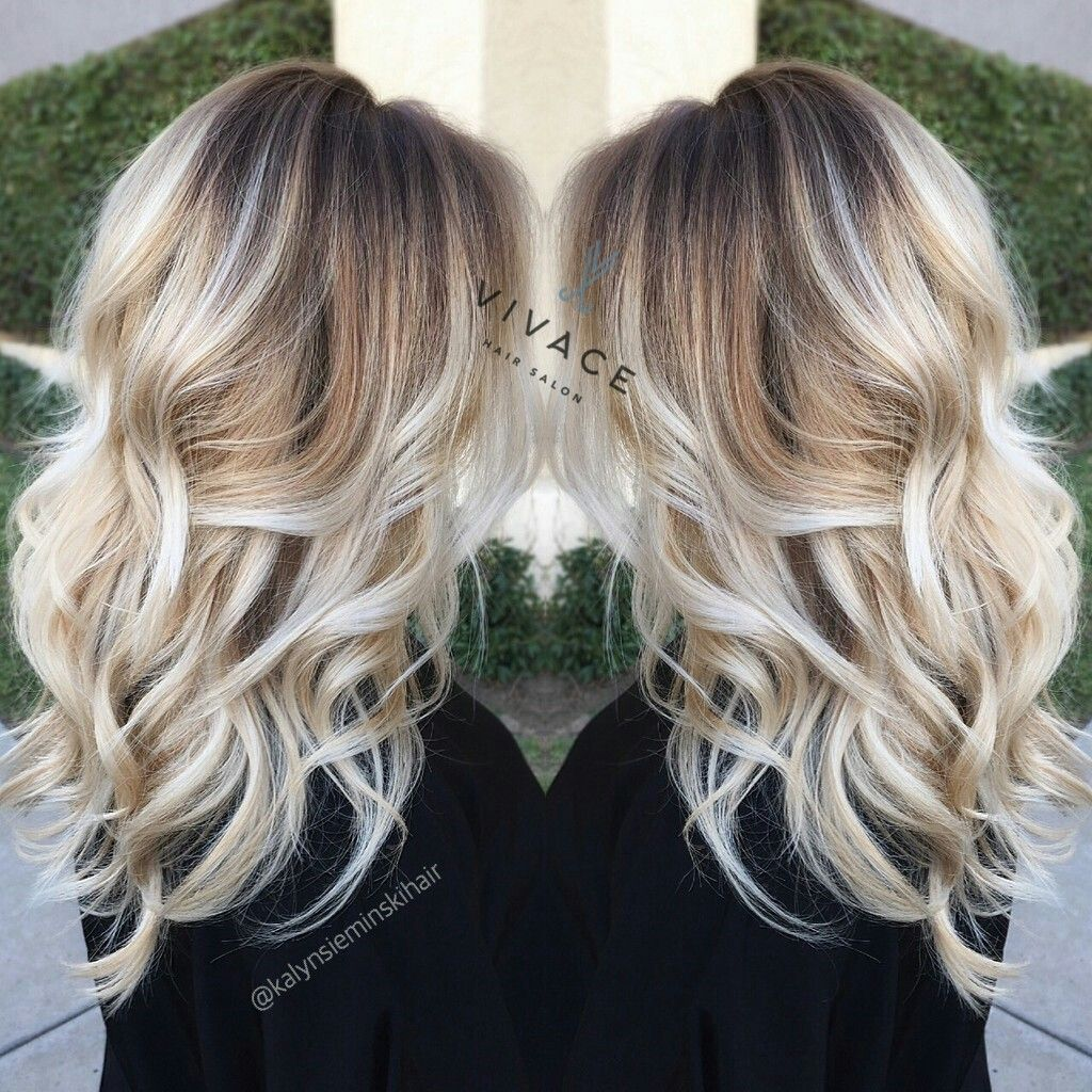 Black hair with blonde ends - Blonde Cool Tones Dark Base Icy Ends With Balayage Highlights