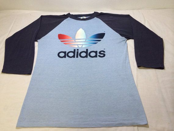 ADIDAS Shirt 70's TREFOIL Vintage/ RARE Raglan Style 3/4 Sleeves T-shirt/  Rainbow Trefoil Logo Super Soft Thin Excellent Condition Medium