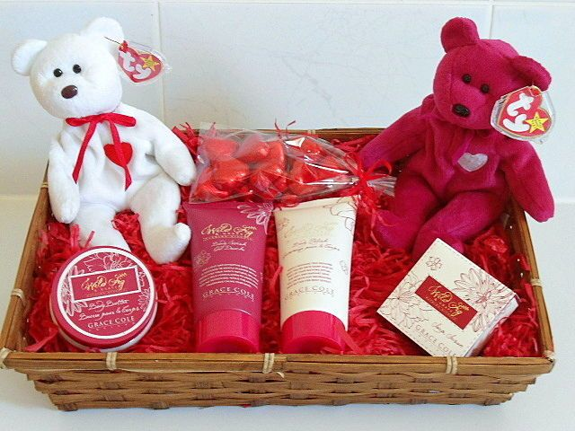 Valentines Day Gift Hamper With Rare Collectible Ty Valentine Bears