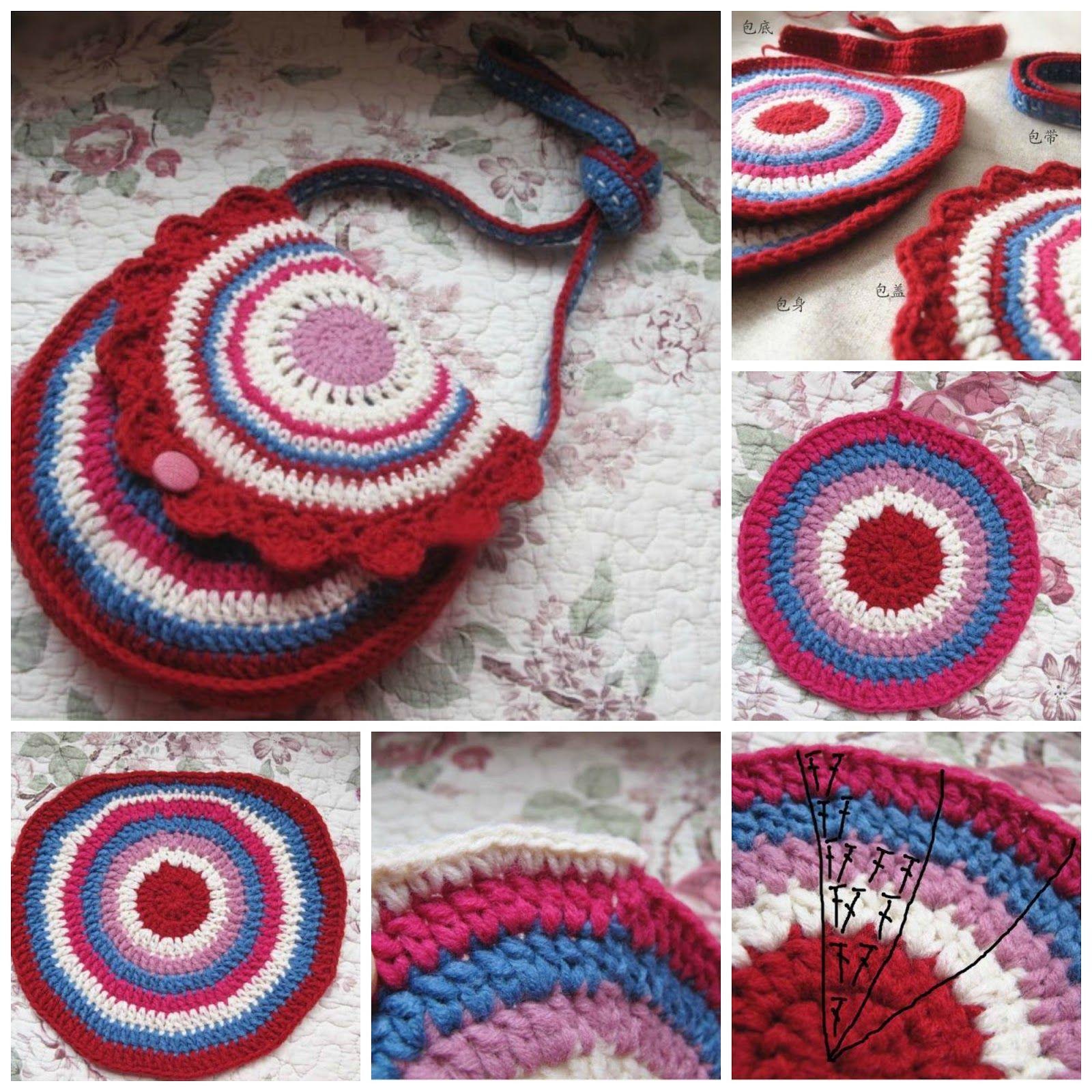 Bolso de crochet circular con 3 grannis tutorial - Patrones Crochet ...