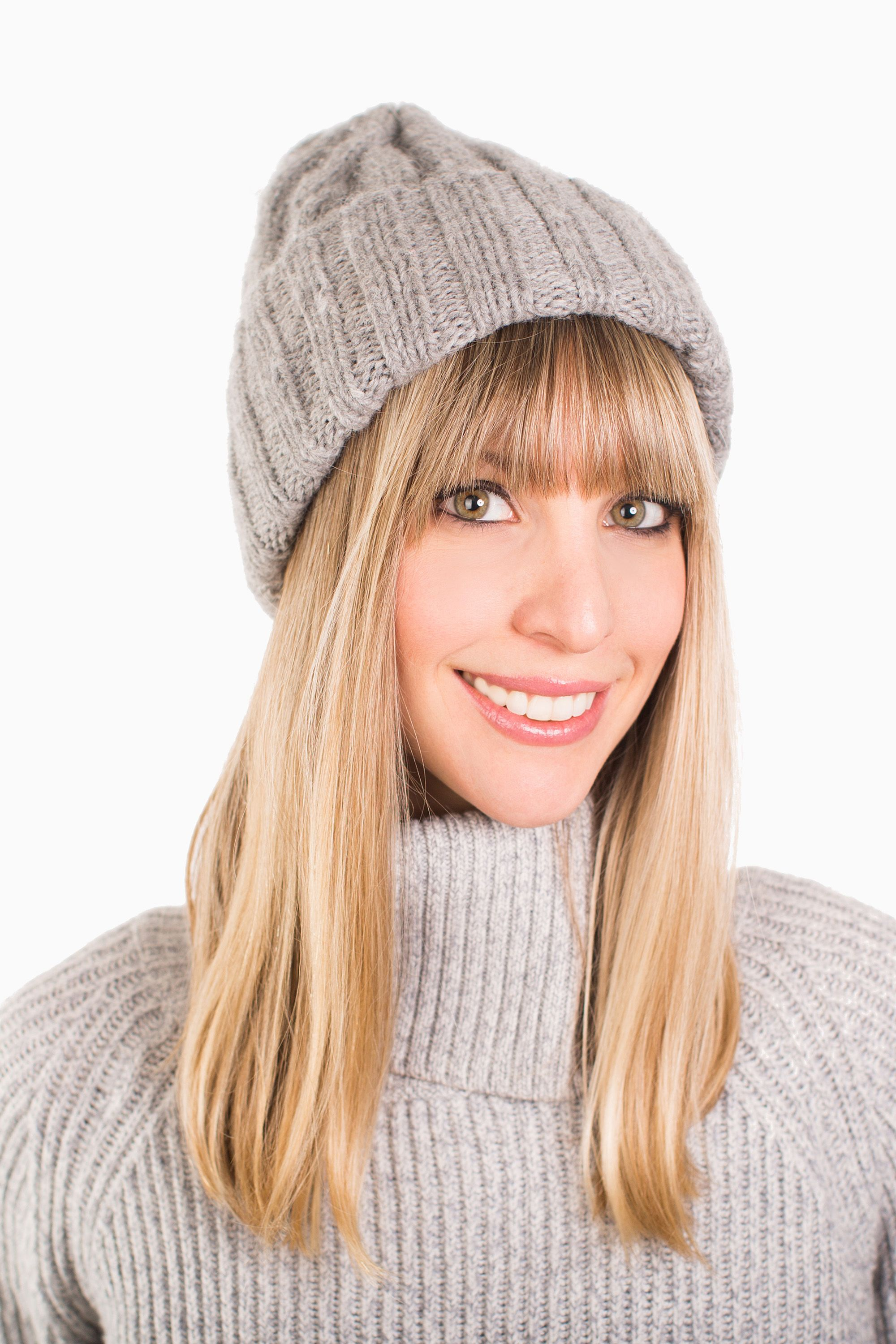 d1b380b6a0e The Takeaway  Highlight Bangs Wear your beanie folded and slightly back on  the crown of the head to keep face-framing fringe front and center.