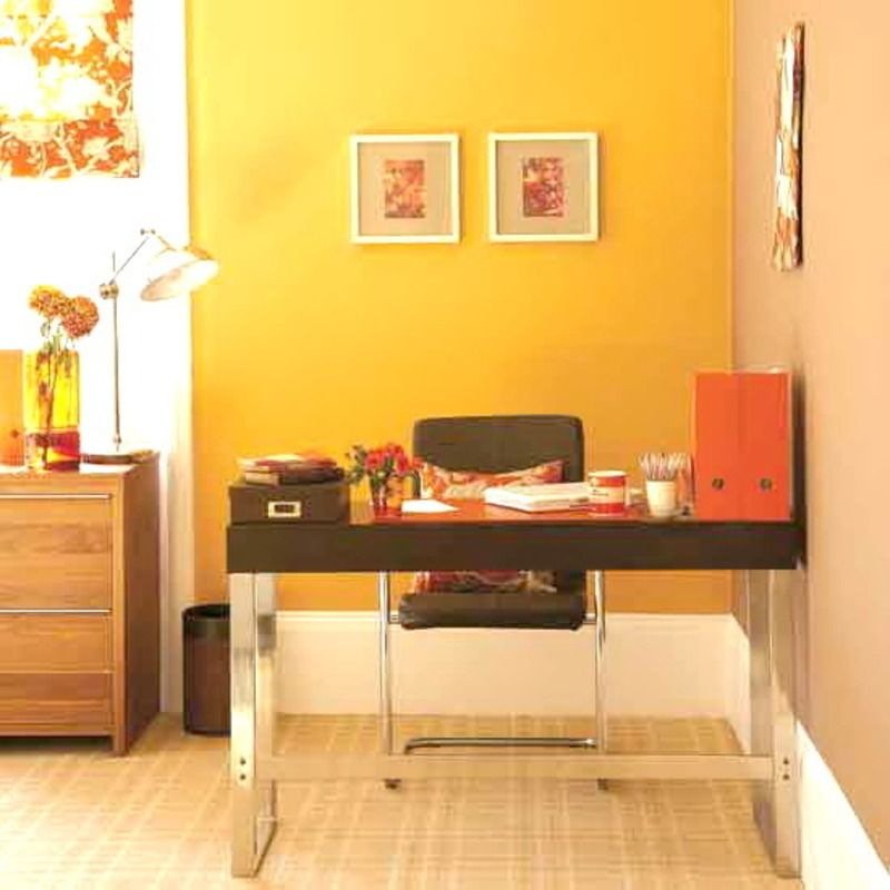 I love the warm colors in this tiny office...something to think ...