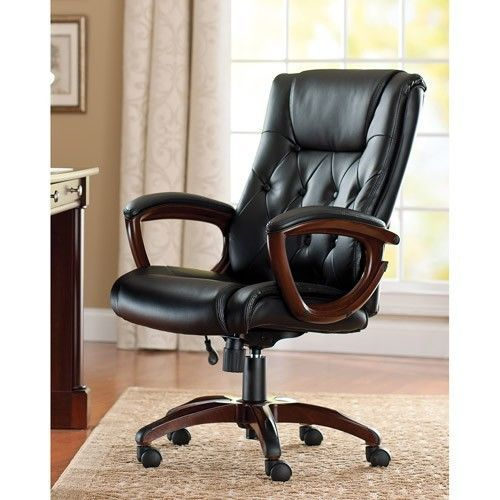 Leather Office Executive Chair High Lumbar Support Back Desk Mat Wheel Casters Best Office Chair Executive Office Chairs Leather Office Chair