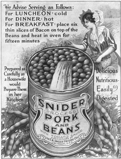 Snider Pork and Beans...prepared as carefully as a housewife would prepare them in her kitchen. Vintage food ad 1910s Edwardian pork beans illustration