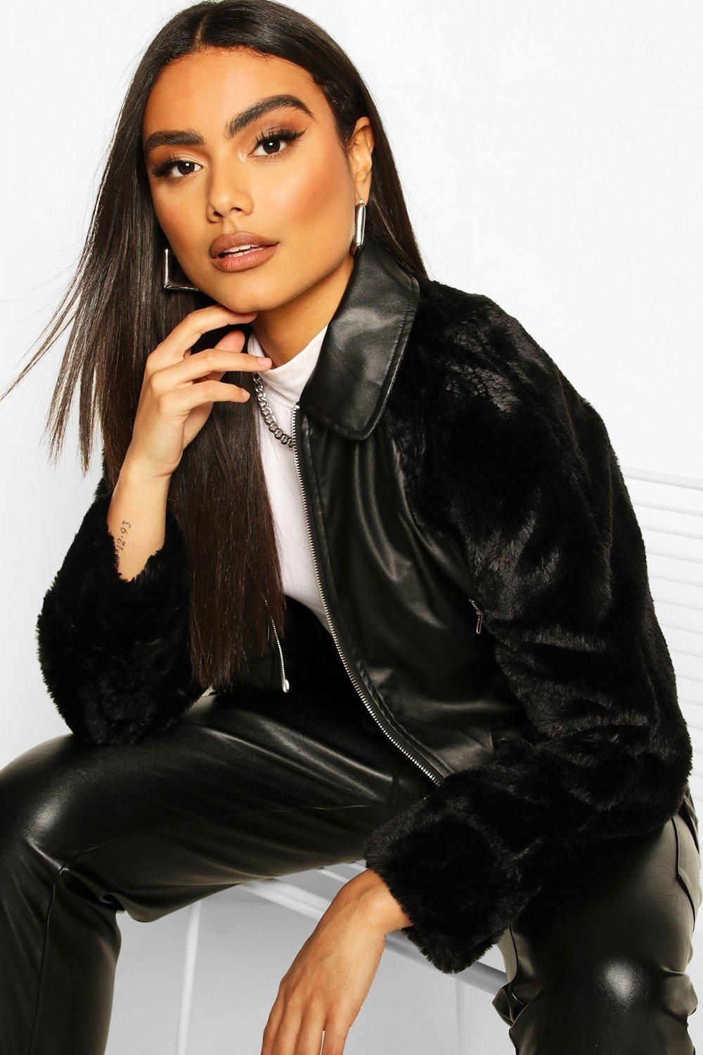 Faux Leather Faux Fur Sleeve Bomber Jacket Boohoo Bomber Jacket Black Bomber Jacket Womens Skirt Outfits [ 1500 x 1000 Pixel ]