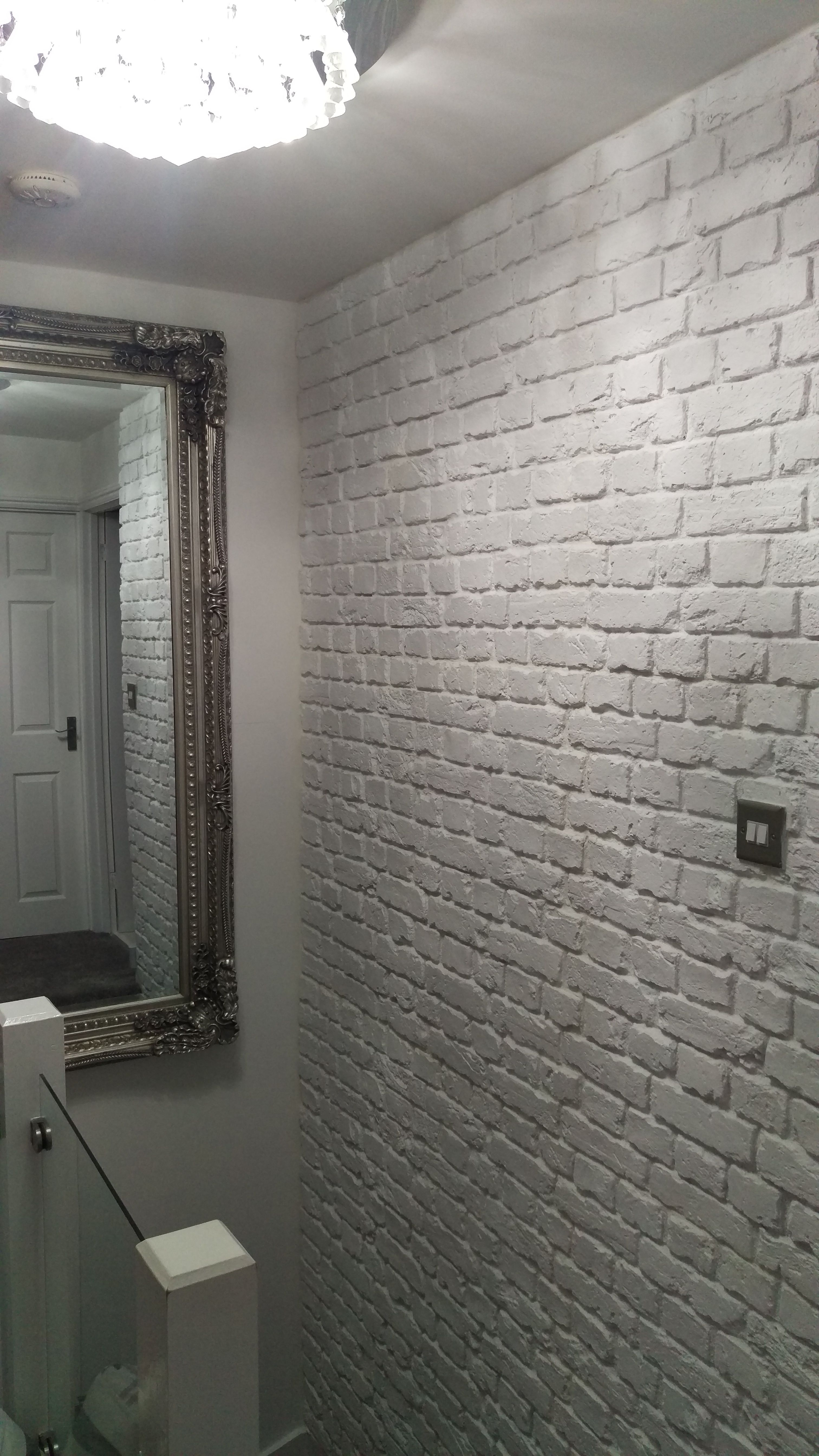 Old White Brick Effect Cladding Supplied By Brick Clad Interior Design Feature Wall Faux Brick Country Brick Effect Panels Brick Cladding Brick Paneling