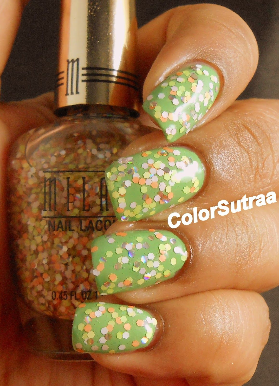 MILANI Spring 2014 collection : Swatches and Review (PART I) Sugar Rush (over Showy Seagreen)