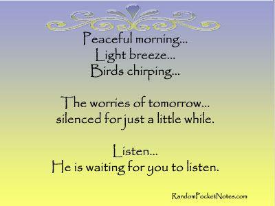 Peaceful morning    Light breeze    Birds chirping    Listen
