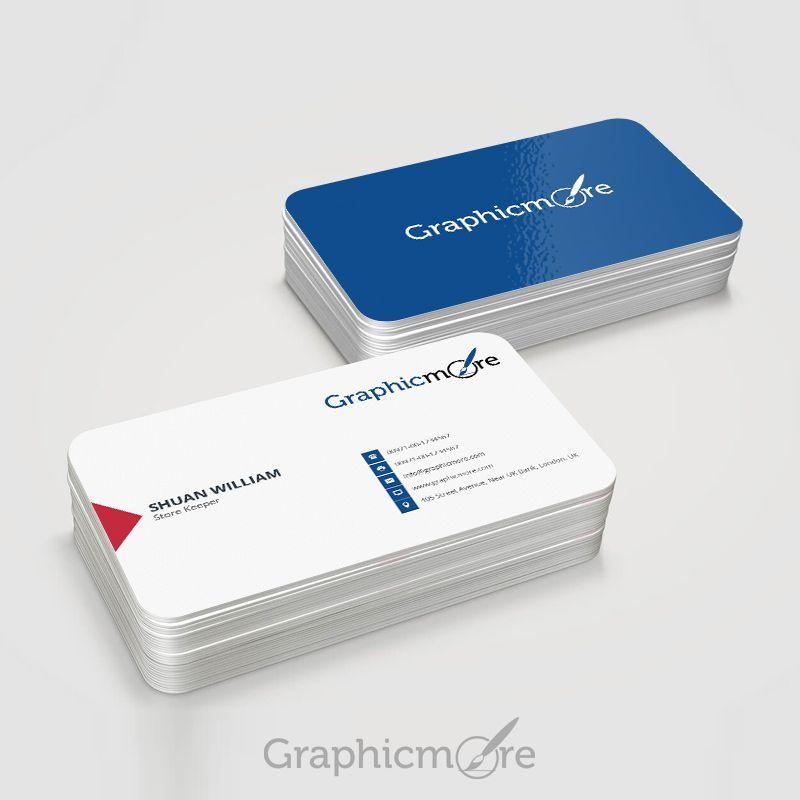 Round Corner Blue Business Card Template Mockup Design Free Psd File Blue Bus Round Business Cards Vertical Business Card Template Business Card Mock Up