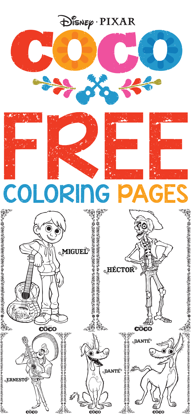 Free Printables: Disney/Pixar\'s Coco Coloring Pages