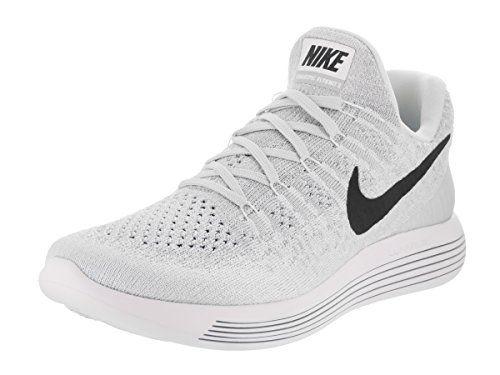 Nike Women's Lunarepic Low Flyknit 2 White/Black/Pure Platinum Running Shoe  10 Women