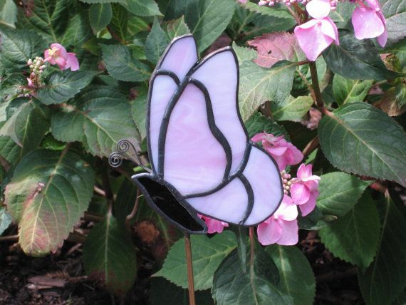 Pink Butterfly Stained Glass Garden Stake Plant By GlassPizazz, #CGGE