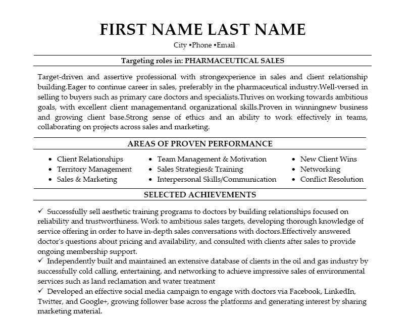 Click Here To Download This Pharmaceutical Sales Resume Template