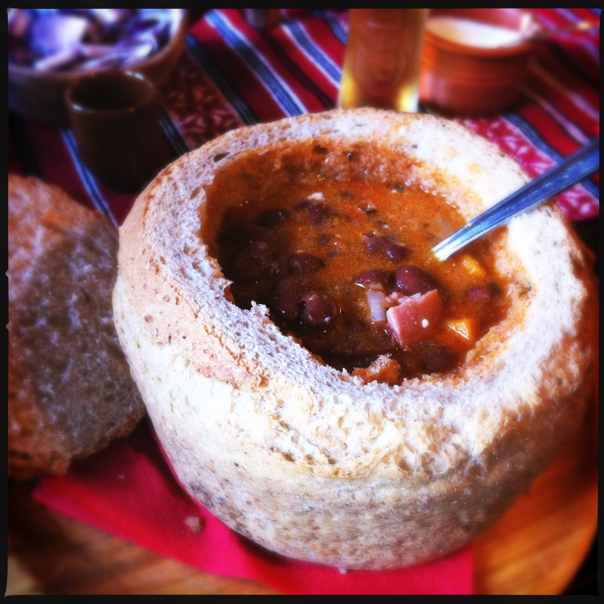 Romanian Pork & Bean Soup in Bread.  So good.