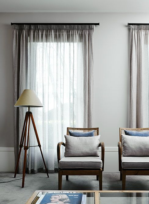 BQ Sheer Curtains with Pencil Pleat Heading and Black Curtain Tracks ...