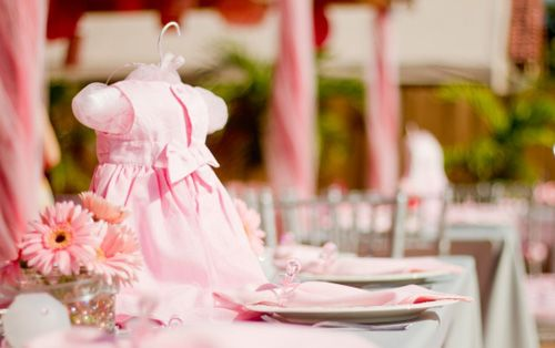 Baby Shower Dress Ideas ~ Stuffed little dresses as centerpieces so cute. will do for my