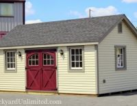 12x20 Garden Shed with Vinyl Siding, Carriage House Doors, Gable Vents and 9-Lite Windows