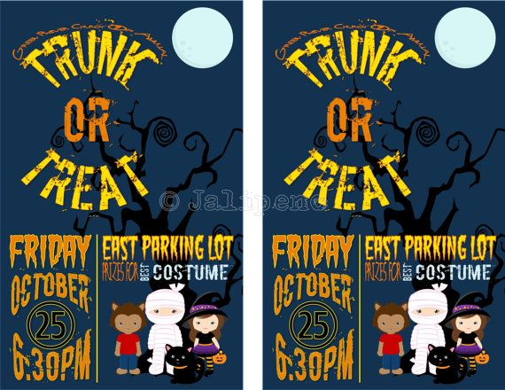 Trunk or Treat Invitation / Flyer Digital CUSTOM PRINTABLE DOWNLOAD - halloween poster ideas