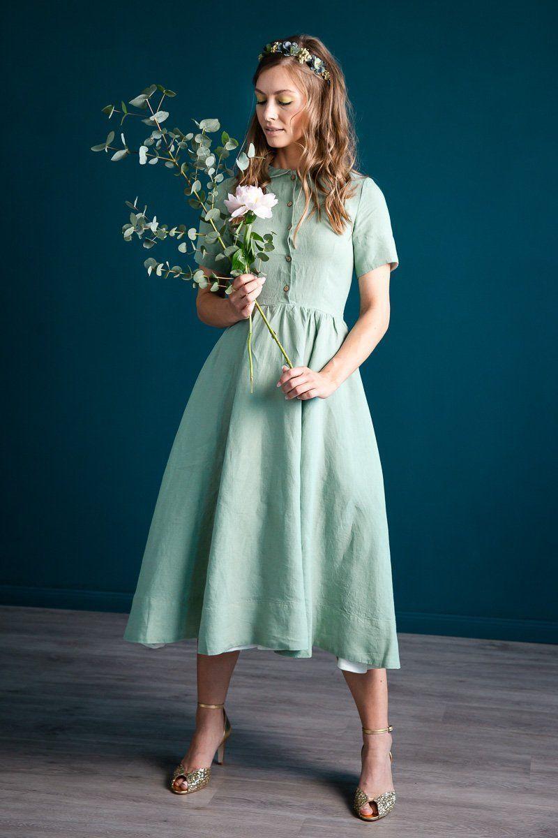 Pastellgrünes Kurzarm-Kleid aus Leinen, Mint Tea in 17  Kleider
