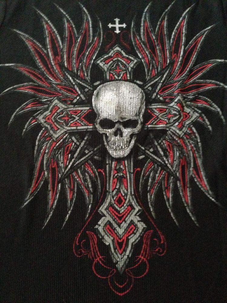 b1dd24f694880 No Boundaries Mens Thermal Long Sleeve Winged Skull Cross Graphic T ...